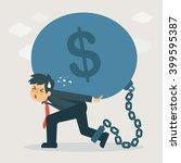 businessman carry debt....   Shutterstock .eps vector #399595387