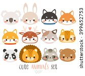 set of twelve cute animals.... | Shutterstock .eps vector #399652753