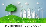 concept of eco with building... | Shutterstock .eps vector #399677377