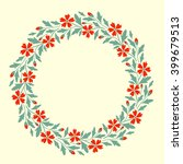 floral wreath with decorative... | Shutterstock .eps vector #399679513