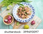 thai spicy minced meat salad or ... | Shutterstock . vector #399693097