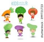 set of cute kids wearing... | Shutterstock .eps vector #399721723