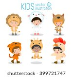 set of cute kids wearing animal ... | Shutterstock .eps vector #399721747