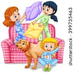 three girls playing pillow... | Shutterstock .eps vector #399735463