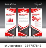 red roll up banner template and ... | Shutterstock .eps vector #399757843