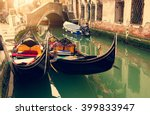 canal with two gondolas in... | Shutterstock . vector #399833947