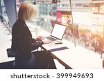 young female freelancer is... | Shutterstock . vector #399949693