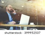 young bearded man ceo of big... | Shutterstock . vector #399952537