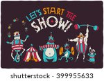 funny poster with cartoon... | Shutterstock .eps vector #399955633