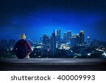 a traveler sitting on the... | Shutterstock . vector #400009993