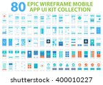 Epic Wireframe Mobile App UI Kit Collection, 80 screens.  | Shutterstock vector #400010227
