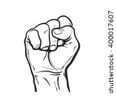 raised hand showing a fist  a...