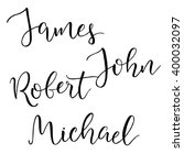 Set of four common american male names. Modern calligraphic style. Isolated objects.