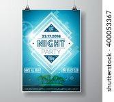 vector summer beach party flyer ... | Shutterstock .eps vector #400053367
