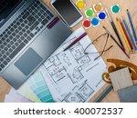 top view of artistic worktable... | Shutterstock . vector #400072537