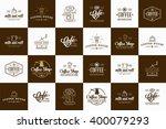 set of vector coffee elements... | Shutterstock .eps vector #400079293