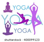 yoga poses woman's silhouettes... | Shutterstock .eps vector #400099123