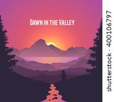 dawn in the valley. summer... | Shutterstock .eps vector #400106797