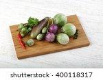 fresh ripe baby eggplans on the ... | Shutterstock . vector #400118317