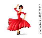 girl dancing flamenco isolated... | Shutterstock .eps vector #400132213