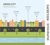 flat design city landscape ... | Shutterstock .eps vector #400138393