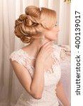 beautiful bride. wedding dress. ... | Shutterstock . vector #400139017