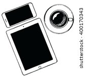 top view ipad tablet and... | Shutterstock .eps vector #400170343