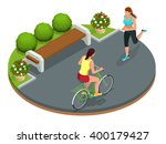 cyclists on bicycle in park and ... | Shutterstock .eps vector #400179427