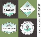 set of organic food logo ... | Shutterstock .eps vector #400198357