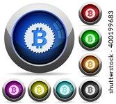 set of round glossy bitcoin...