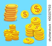 set of money coins vector | Shutterstock .eps vector #400207933