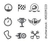 race icons set speedometer ... | Shutterstock .eps vector #400209223