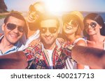 friendly selfie. five young... | Shutterstock . vector #400217713