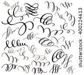 set of hand drawn calligraphic...