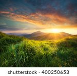 mountain valley during sunset.... | Shutterstock . vector #400250653