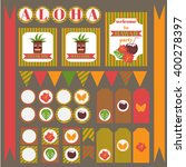 printable set of hawaii party... | Shutterstock .eps vector #400278397