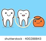 teeth and dental floss. floss... | Shutterstock .eps vector #400288843