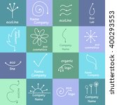organic cosmetic mono line logo ... | Shutterstock .eps vector #400293553