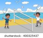 children playing badminton on... | Shutterstock . vector #400325437