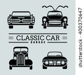 set front view classic car icon ... | Shutterstock .eps vector #400370647