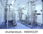 manufacturing facility in pharmaceutical factory - stock photo