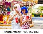 two beautiful girls in bright...   Shutterstock . vector #400459183