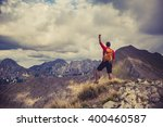hiking man  climber or trail... | Shutterstock . vector #400460587