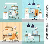 office interior with designer... | Shutterstock .eps vector #400519093