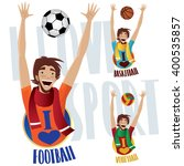 set of three happy sports fans  ... | Shutterstock .eps vector #400535857