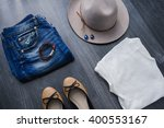 still life of outfit of womens. ... | Shutterstock . vector #400553167
