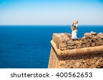 man protects himself from the... | Shutterstock . vector #400562653