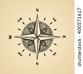 hand drawn compass wind rose... | Shutterstock .eps vector #400571617