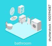 isometric interior of bathroom | Shutterstock .eps vector #400594087