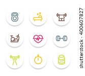 fitness line icons  thick... | Shutterstock .eps vector #400607827
